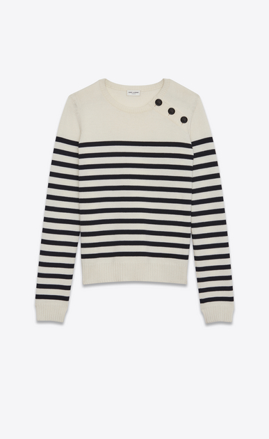 SAINT LAURENT Knitwear Tops D MARINIÉRE Sweater in Ivory and Black Striped Wool a_V4