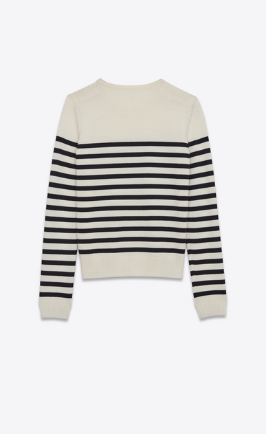 SAINT LAURENT Knitwear Tops D MARINIÉRE Sweater in Ivory and Black Striped Wool b_V4