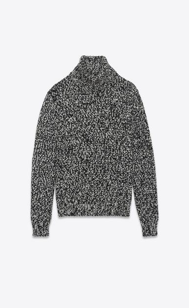 SAINT LAURENT Knitwear Tops D Oversized Turtleneck Sweater in Ivory and Black Wool Mélange v4