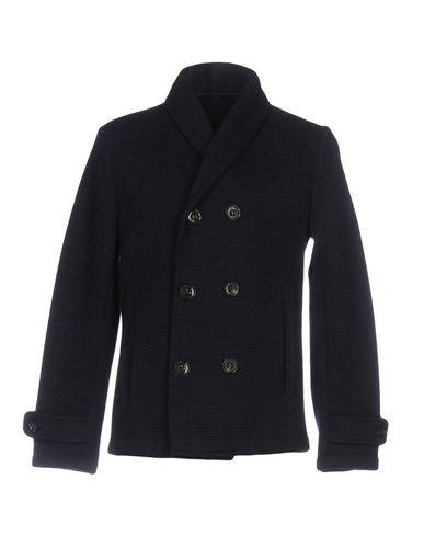 Купить Мужское пальто или плащ PAOLO PECORA темно-синего цвета