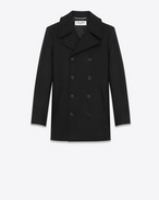 SAINT LAURENT Coats D CABAN Coat in Black Virgin Wool f