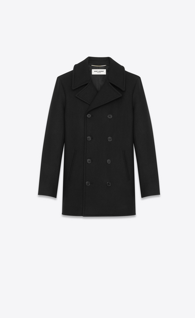 SAINT LAURENT Coats Woman CABAN Coat in Black Virgin Wool a_V4