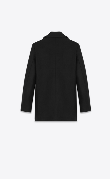 SAINT LAURENT Coats D CABAN Coat in Black Virgin Wool b_V4
