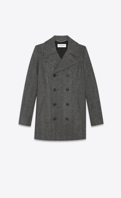 SAINT LAURENT Cappotti D Cappotto CABAN nero e grigio in lana Chevron intessuta e nylon a_V4