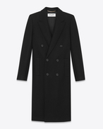 SAINT LAURENT Coats D Double Breasted Coat in Black Wool and Polyamide f