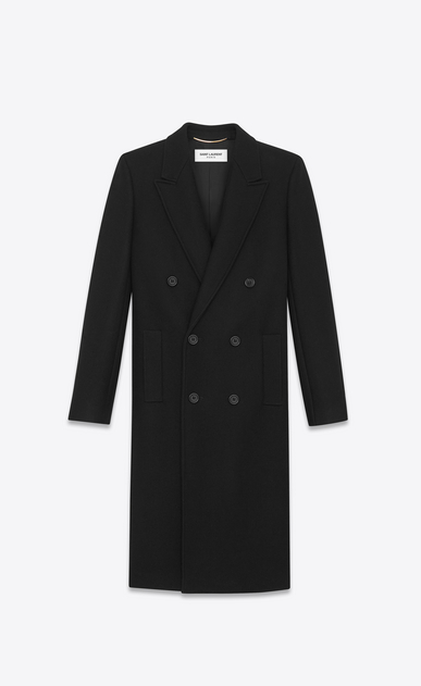 SAINT LAURENT Coats Woman Double Breasted Coat in Black Wool and Polyamide a_V4