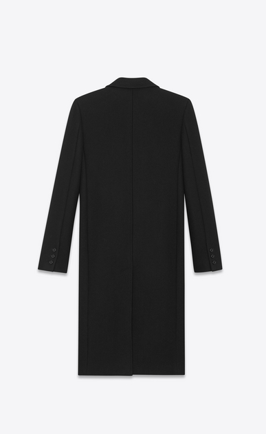 SAINT LAURENT Coats D Double Breasted Coat in Black Wool and Polyamide b_V4