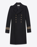 SAINT LAURENT Coats D CABAN Officer Coat in Black Wool f