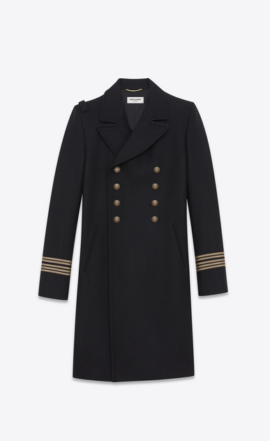 SAINT LAURENT Coats D CABAN Officer Coat in Black Wool a_V4