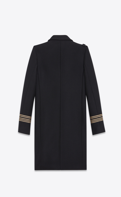 SAINT LAURENT Coats D CABAN Officer Coat in Black Wool b_V4