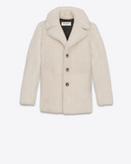 SAINT LAURENT Coats D CABAN Coat in Ecru Shearling f