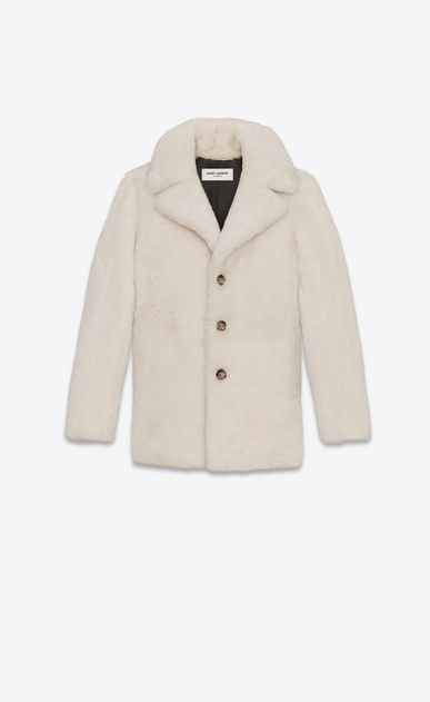 SAINT LAURENT Coats D CABAN Coat in Ecru Shearling a_V4