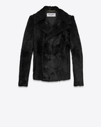 SAINT LAURENT Coats D Double-Breasted CABAN Coat in Black Goat Hide f