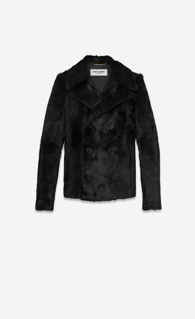 SAINT LAURENT Coats D Double-Breasted CABAN Coat in Black Goat Hide a_V4