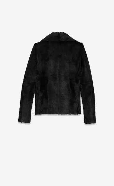 SAINT LAURENT Coats D Double-Breasted CABAN Coat in Black Goat Hide b_V4