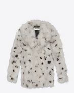 SAINT LAURENT Coats D CABAN Coat in Ivory and Black Dotted Fox Fur f