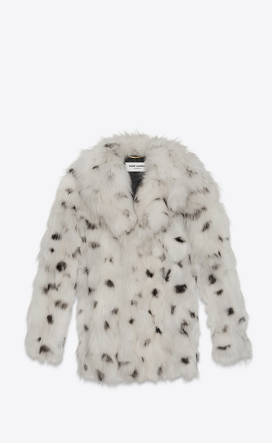 SAINT LAURENT Coats D CABAN Coat in Ivory and Black Dotted Fox Fur a_V4