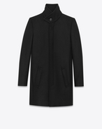 SAINT LAURENT Coats D Stand-up Collar Coat in Black Virgin Wool f
