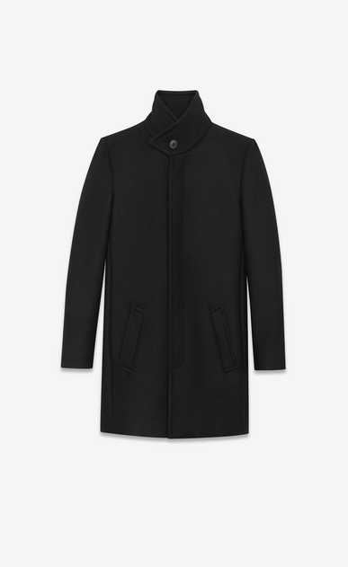 SAINT LAURENT Coats Woman Stand-up Collar Coat in Black Virgin Wool a_V4