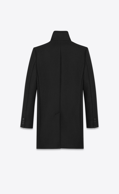 SAINT LAURENT Coats Woman Stand-up Collar Coat in Black Virgin Wool b_V4