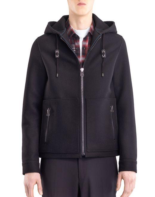 lanvin compact felt hoodie men