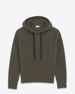 SAINT LAURENT Sportswear Tops U Hoodie Sweater in Khaki Heather Wool and Yak Hair f