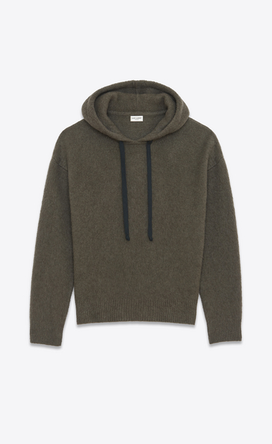SAINT LAURENT Sportswear Tops U Hoodie Sweater in Khaki Heather Wool and Yak Hair a_V4