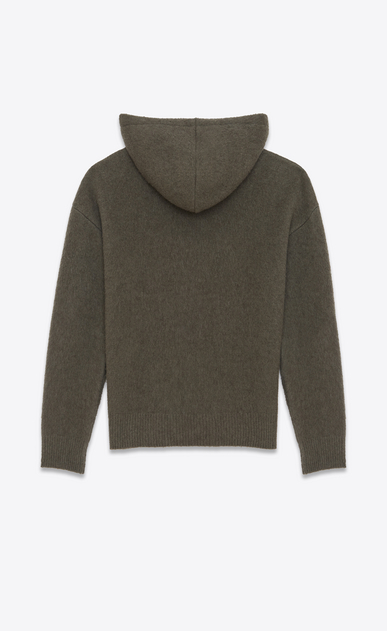 SAINT LAURENT Sportswear Tops U Hoodie Sweater in Khaki Heather Wool and Yak Hair b_V4