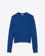 SAINT LAURENT Top Tricot U Felpa girocollo in lana e mohair blu royal f