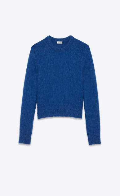 SAINT LAURENT Knitwear Tops U Crewneck Sweater in Royal Blue Wool and Mohair a_V4