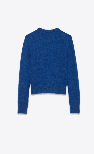 SAINT LAURENT Knitwear Tops U Crewneck Sweater in Royal Blue Wool and Mohair b_V4