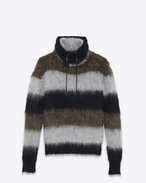 SAINT LAURENT Knitwear Tops U Funnel Neck Sweater in Black, Heather Grey and Khaki Mohair, Nylon and Wool f