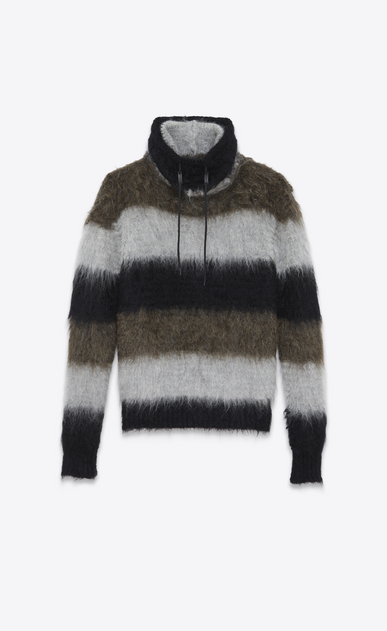 SAINT LAURENT Knitwear Tops U Funnel Neck Sweater in Black, Heather Grey and Khaki Mohair, Nylon and Wool a_V4
