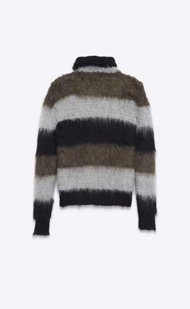 SAINT LAURENT Knitwear Tops U Funnel Neck Sweater in Black, Heather Grey and Khaki Mohair, Nylon and Wool b_V4