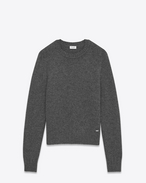 SAINT LAURENT Knitwear Tops U Drop Shoulder Crewneck Sweater in Anthracite Grey Camel Hair f