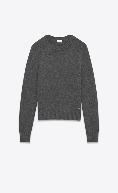 SAINT LAURENT Knitwear Tops U Drop Shoulder Crewneck Sweater in Anthracite Grey Camel Hair a_V4