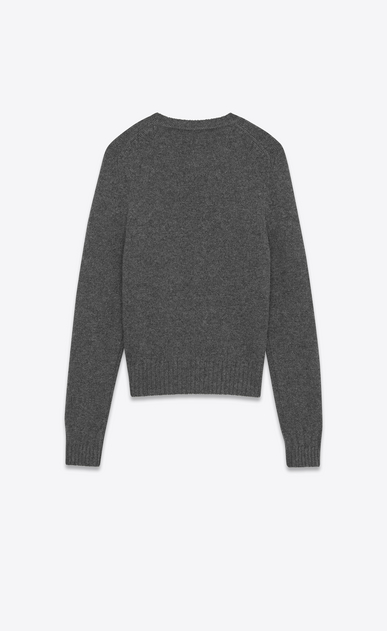 SAINT LAURENT Knitwear Tops Man Drop Shoulder Crewneck Sweater in Anthracite Grey Camel Hair b_V4