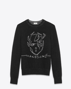 "SAINT LAURENT Knitwear Tops U ""HANDSOME"" Sweater in Black and Silver Mohair and Viscose Jacquard f"