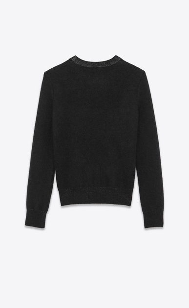 "SAINT LAURENT Knitwear Tops Man ""HANDSOME"" Sweater in Black and Silver Mohair and Viscose Jacquard b_V4"