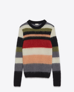 SAINT LAURENT Stricktops U Crewneck Sweater in Multicolor Striped Mohair, Nylon and Wool f