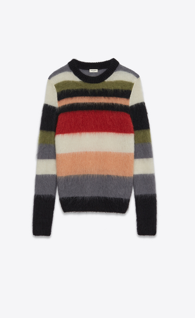 SAINT LAURENT Knitwear Tops U Crewneck Sweater in Multicolor Striped Mohair, Nylon and Wool a_V4