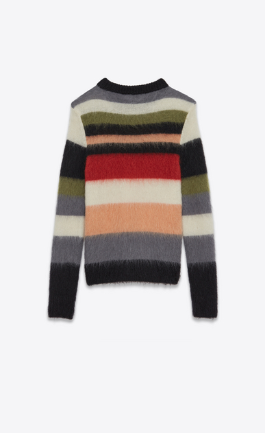SAINT LAURENT Knitwear Tops U Crewneck Sweater in Multicolor Striped Mohair, Nylon and Wool b_V4