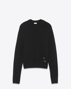 SAINT LAURENT Stricktops U Drop Shoulder Crewneck Sweater with Pins in Black Cashmere f