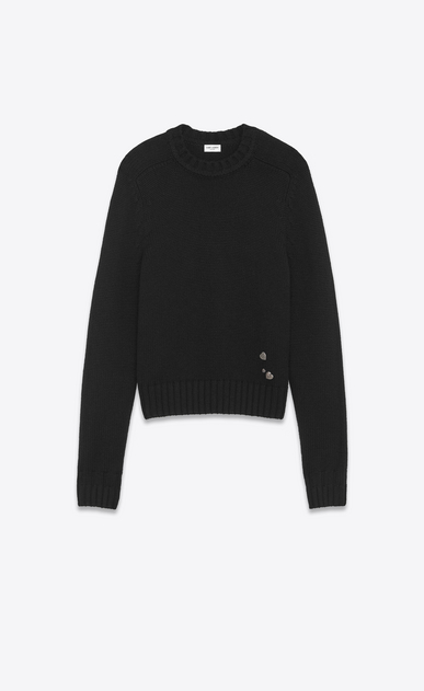 SAINT LAURENT Knitwear Tops U Drop Shoulder Crewneck Sweater with Pins in Black Cashmere a_V4