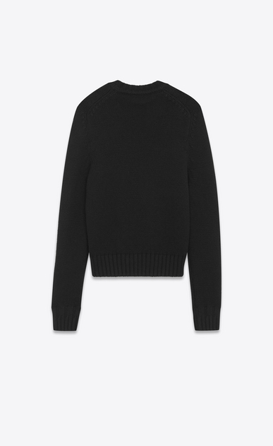 SAINT LAURENT Knitwear Tops U Drop Shoulder Crewneck Sweater with Pins in Black Cashmere b_V4