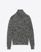 SAINT LAURENT Knitwear Tops U Turtleneck Sweater in Black and White Mélange Wool f