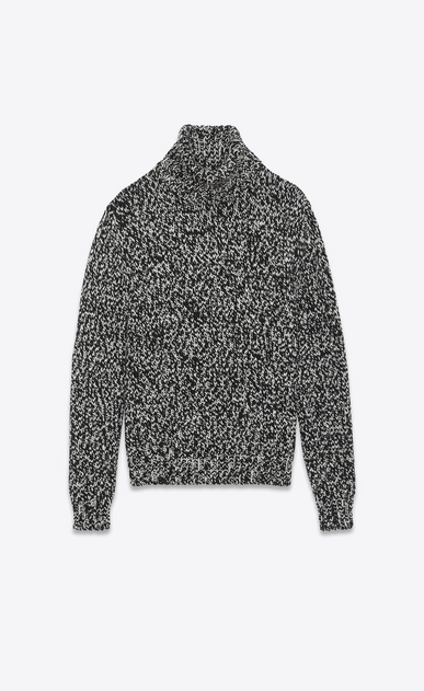 SAINT LAURENT Knitwear Tops U Turtleneck Sweater in Black and White Mélange Wool a_V4