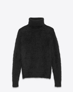 SAINT LAURENT Top Tricot U Felpa con collo a lupetto in mohair e lana nera f