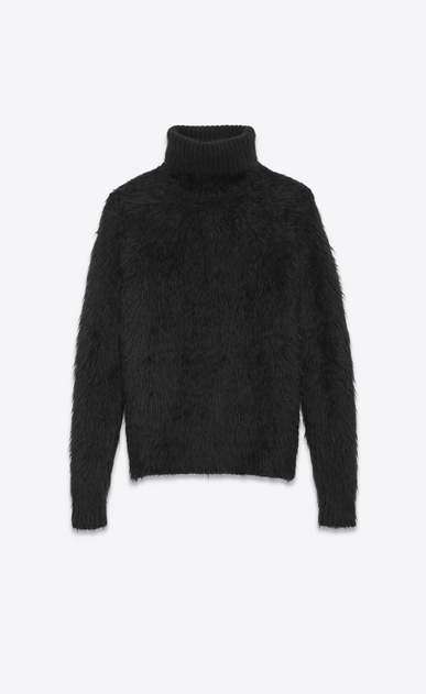 SAINT LAURENT Knitwear Tops U Turtleneck Sweater in Black Mohair and Wool a_V4