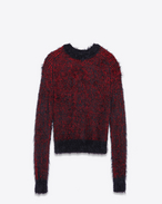 SAINT LAURENT Knitwear Tops U Crewneck Grunge Sweater in Red and Black Polyamide and Wool f